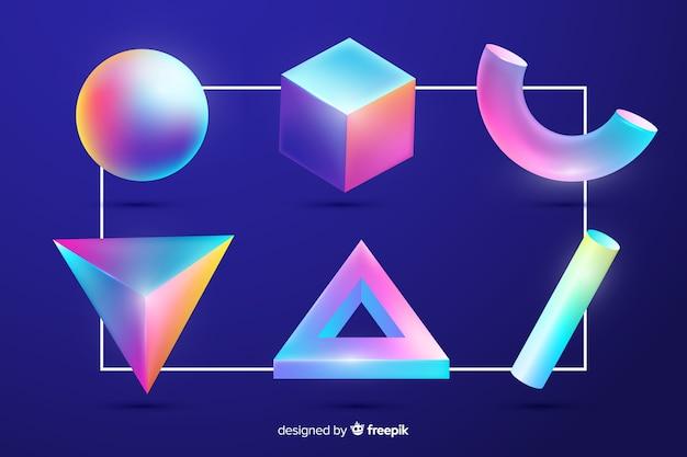 Verzameling van driedimensionale geometrische vormen Gratis Vector