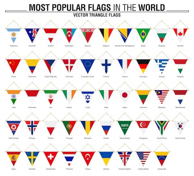 Verzameling van driehoek vlaggen, meest populaire vlaggen van de wereld Premium Vector