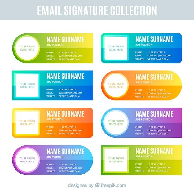 Verzameling van e-mailhandtekeningen in gradiëntkleuren Gratis Vector