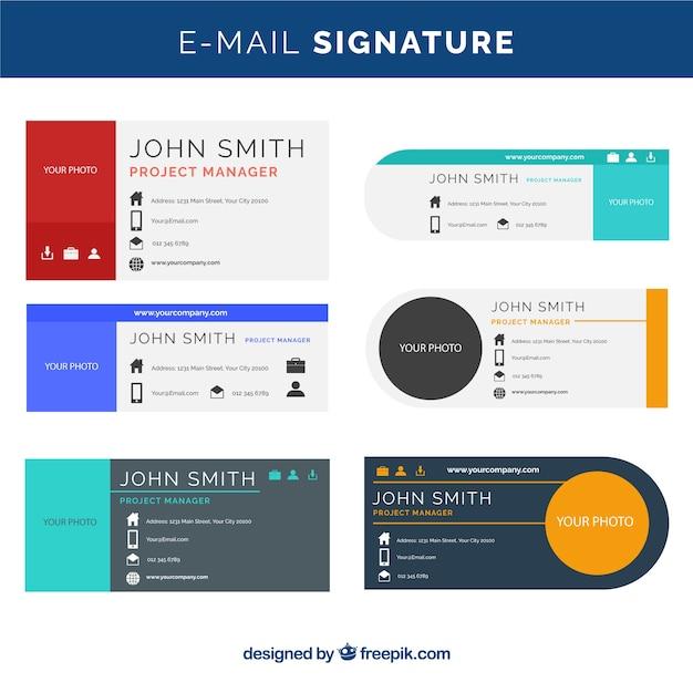 Verzameling van e-mailhandtekeningen in vlakke stijl Gratis Vector