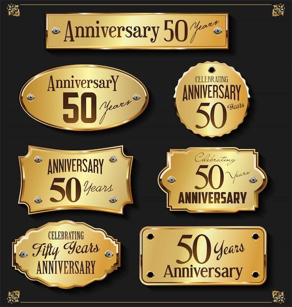 Verzameling van elegante verjaardag gouden etiketten Premium Vector