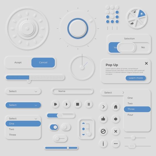 Verzameling van elementen in neumorfe stijl Gratis Vector