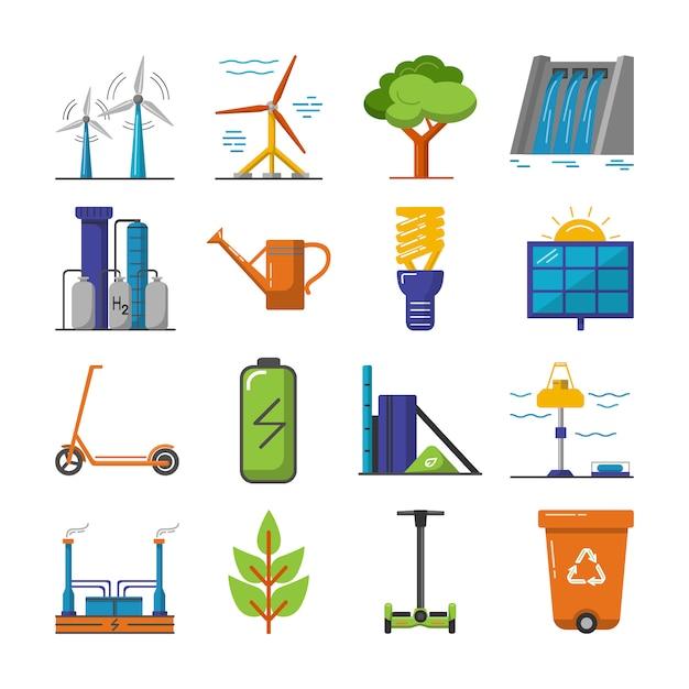 Verzameling van energie en ecologie pictogrammen Premium Vector