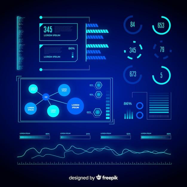 Verzameling van futuristische infographic elementen Gratis Vector