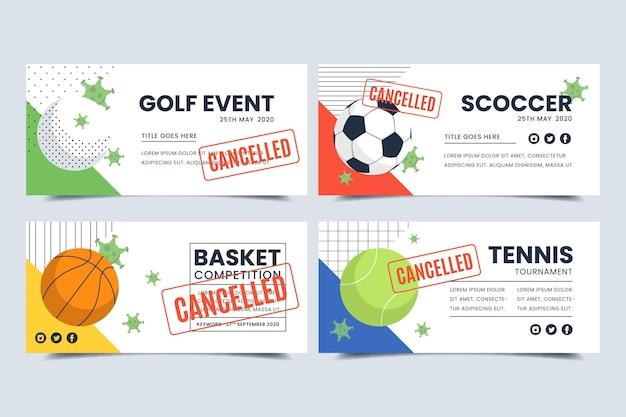 Verzameling van geannuleerde sportevenementenbanners Gratis Vector