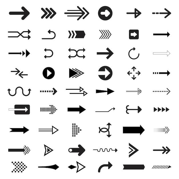 Verzameling van geïllustreerde pijltekens Gratis Vector