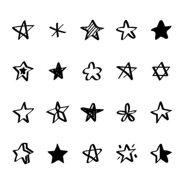 Verzameling van geïllustreerde sterpictogrammen Gratis Vector