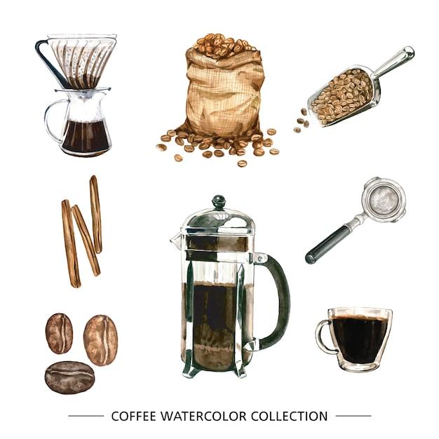 Verzameling van geïsoleerde aquarel koffie Gratis Vector