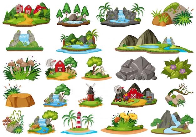 Verzameling van geïsoleerde eiland Premium Vector