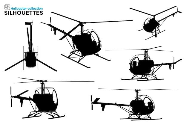 Verzameling van geïsoleerde helikoptersilhouetten in verschillende weergaven Premium Vector