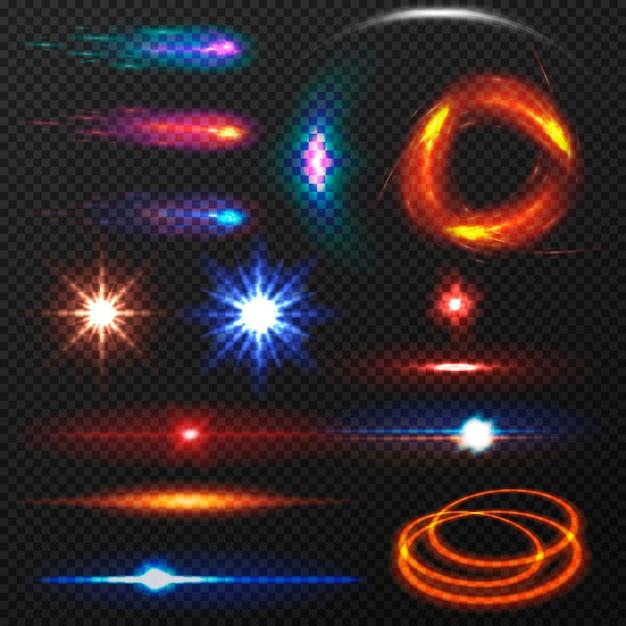 Verzameling van geïsoleerde kleurrijke lichteffecten. Premium Vector