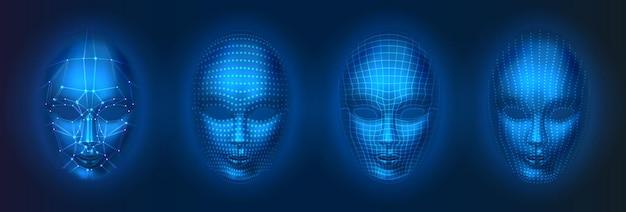 Verzameling van geïsoleerde mens of robot, kunstmatige intelligentie gezichten met stippen en lijnen. gezichtsscan met ai, hoofdverificatietechnologie, herkenningsconcept. Premium Vector