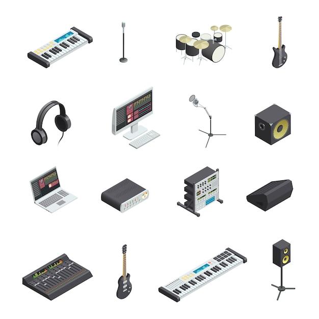Verzameling van geïsoleerde muziek opname studio versnelling pictogrammen met verschillende muziekinstrumenten modules en mixin Gratis Vector