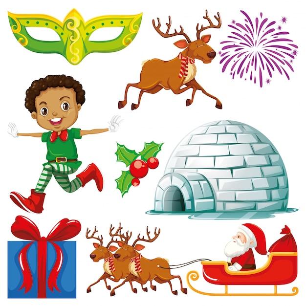 Verzameling van geïsoleerde objecten van kerstmis thema Gratis Vector