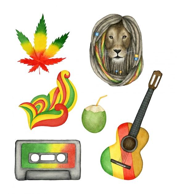 Verzameling van geïsoleerde reggaemuziek elementen. handgeschilderde aquarel collectie Premium Vector