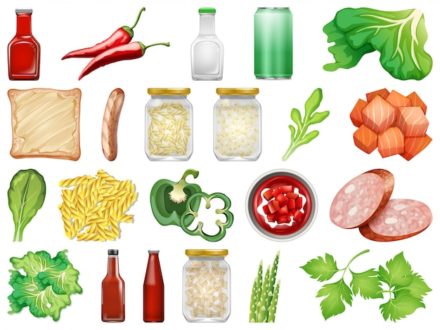 Verzameling van geïsoleerde voedsel Premium Vector