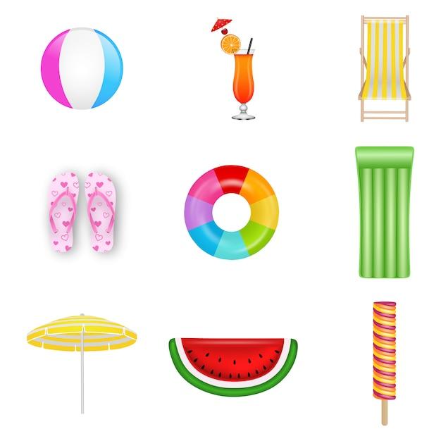 Verzameling van geïsoleerde zomer elementen. strandbal, cocktail, ligstoel, slippers, rubberen ring, opblaasbaar matras, parasol, watermeloenmatten en ijs Premium Vector
