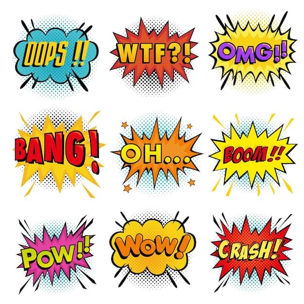 Verzameling van geluidseffecten die komische tekstballon in pop-artstijl en halftoonachtergrond verwoorden Premium Vector