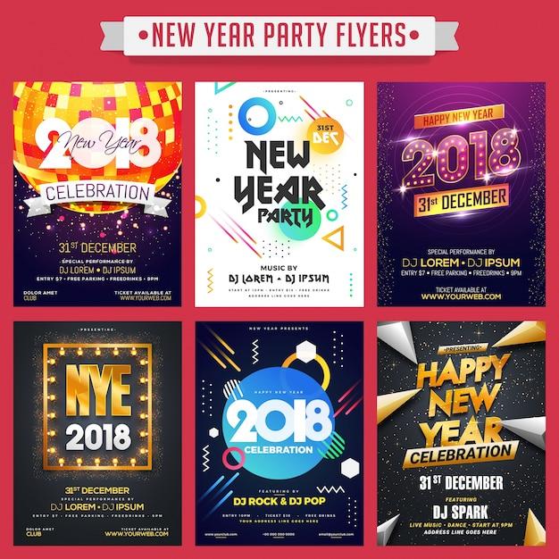 Verzameling van gelukkig nieuwjaar party flyers of banners. Premium Vector