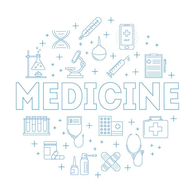 Verzameling van geneeskunde lijn iconen in cirkelframe Premium Vector