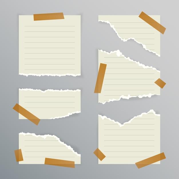 Verzameling van gescheurd papier in verschillende vormen Premium Vector