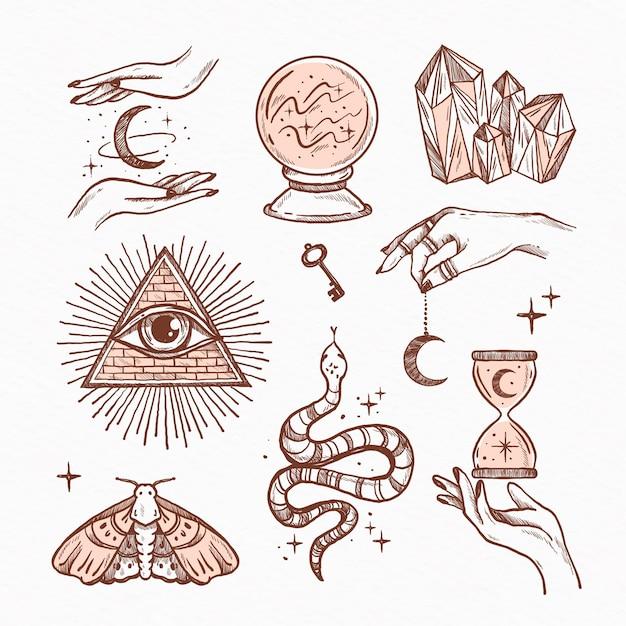 Verzameling van getekende esoterische elementen Gratis Vector