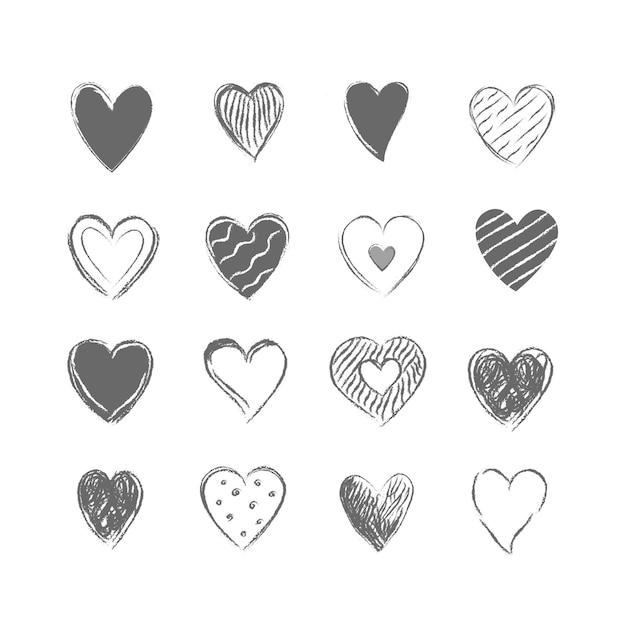 Verzameling van getekende grijze harten Premium Vector