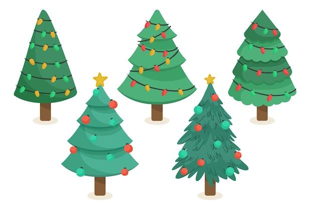 Verzameling van getekende kerstbomen met ornamenten Gratis Vector