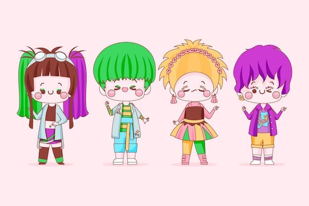 Verzameling van geweldige mensen in harajuku-stijl Gratis Vector