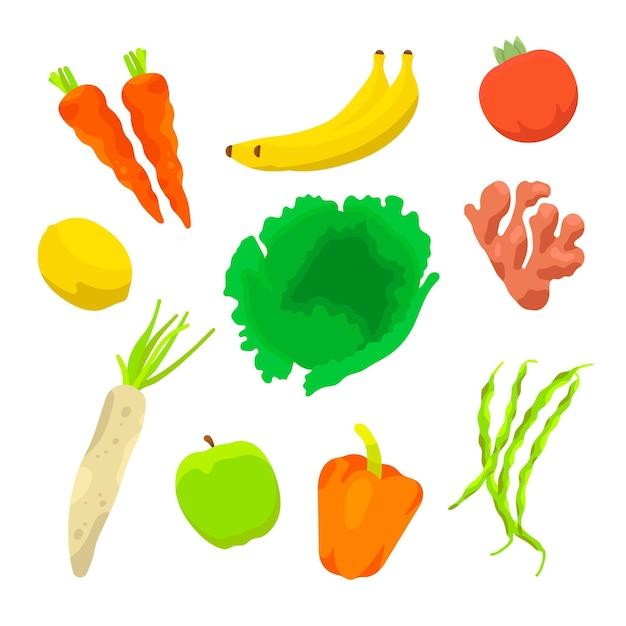Verzameling van gezond voedsel Gratis Vector