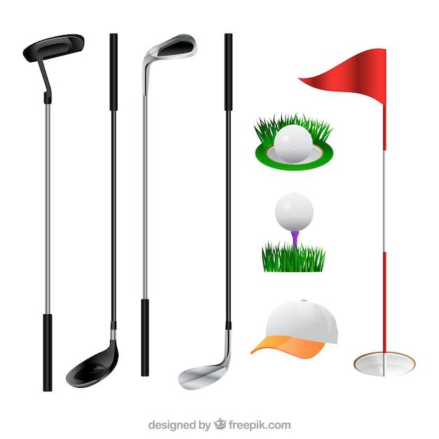 Verzameling van golfclubs en elementen Gratis Vector