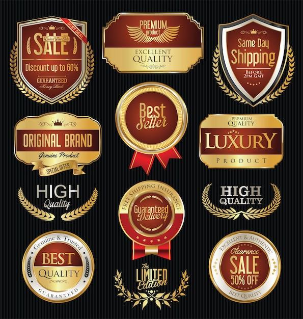 Verzameling van gouden badges, labels en tags Premium Vector