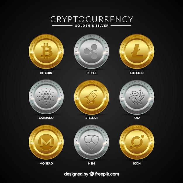 Verzameling van gouden en zilveren cryptocurrency-munten Premium Vector