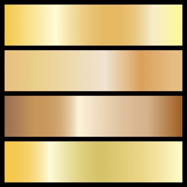Verzameling van gouden gradiënt achtergronden Premium Vector