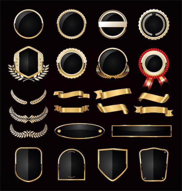Verzameling van gouden luxe Premium Vector