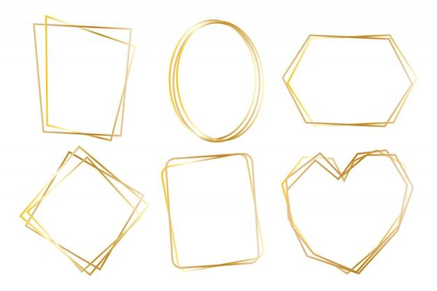 Verzameling van gouden veelhoekige luxe frames vector set Premium Vector