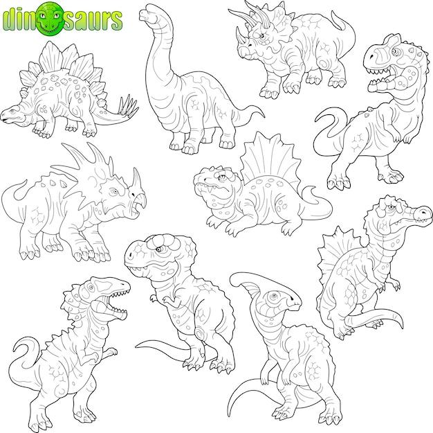 Verzameling van grappige dinosaurussen Premium Vector