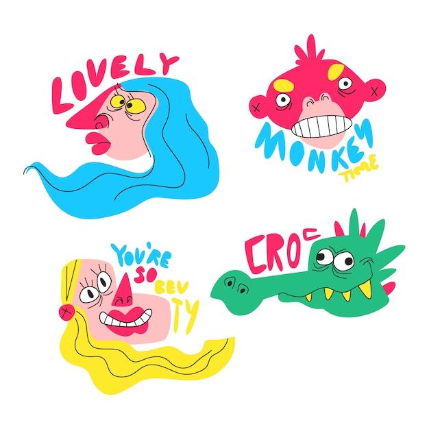 Verzameling van grappige hand getrokken stickers Gratis Vector