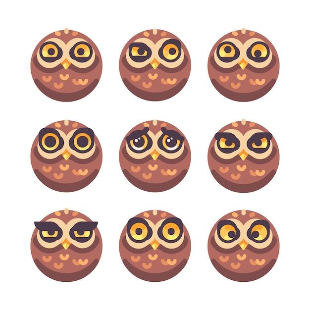 Verzameling van grappige uil gezichten met verschillende uitdrukkingen Premium Vector