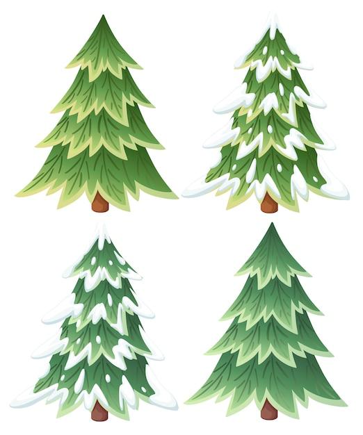 Verzameling van groene sparren. altijdgroene stijl. kerstboom in de sneeuw. illustratie op witte achtergrond Premium Vector