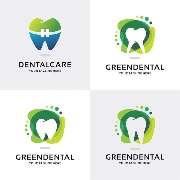 Verzameling van groene tandheelkundige logo set ontwerpsjabloon Premium Vector