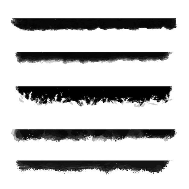 Verzameling van grungestijl geschilderde randen Gratis Vector