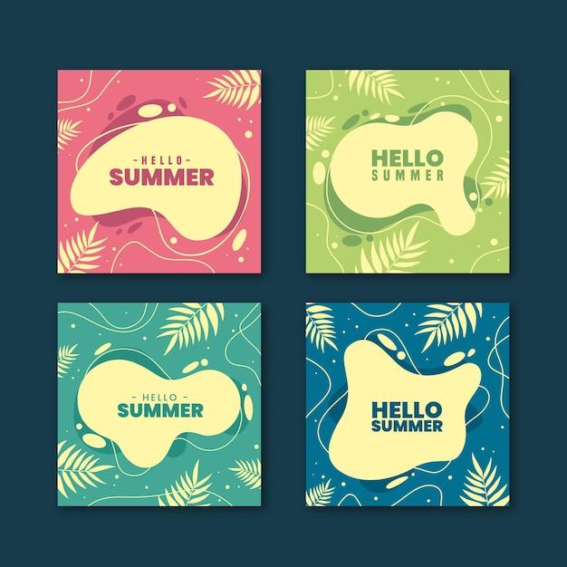 Verzameling van hallo zomer instagram post Gratis Vector