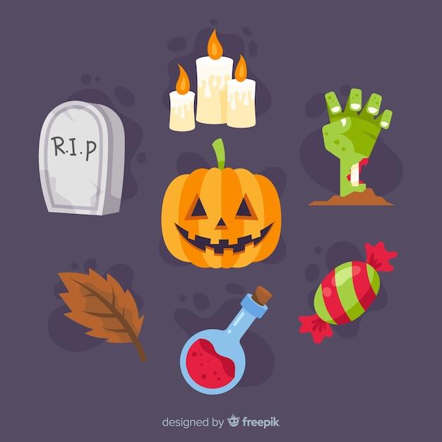 Verzameling van halloween-element Gratis Vector