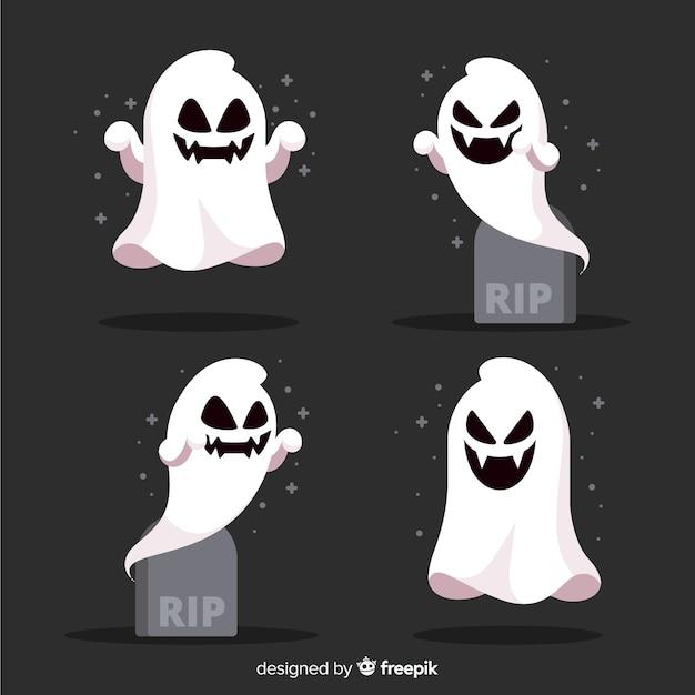 Verzameling van halloween geest in plat ontwerp Gratis Vector
