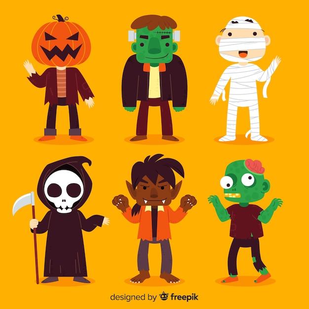 Verzameling van halloween karakter op platte ontwerp Gratis Vector