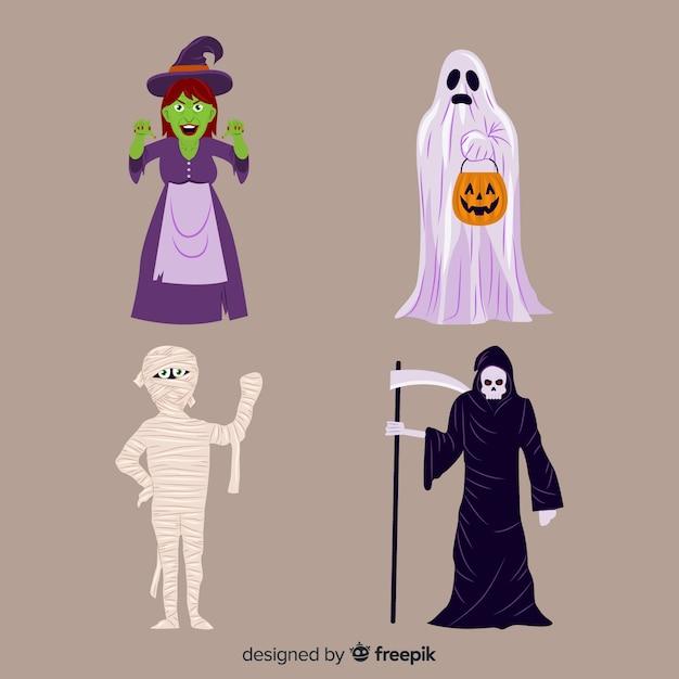 Verzameling van halloween karakters op platte ontwerp Gratis Vector