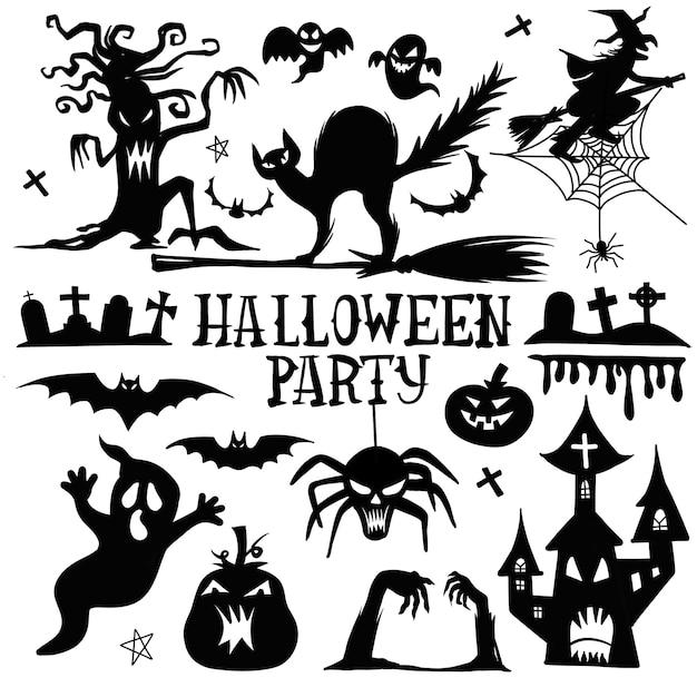 Verzameling van halloween silhouetten pictogram en karakter. Premium Vector
