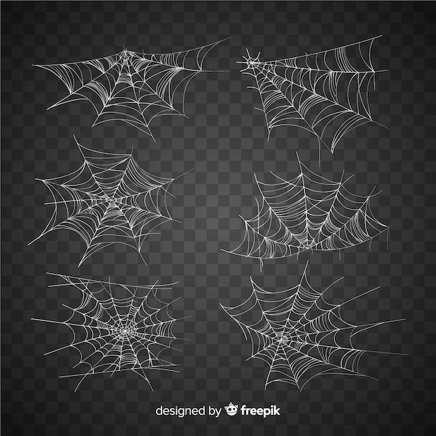 Verzameling van halloween spinnenwebben Premium Vector