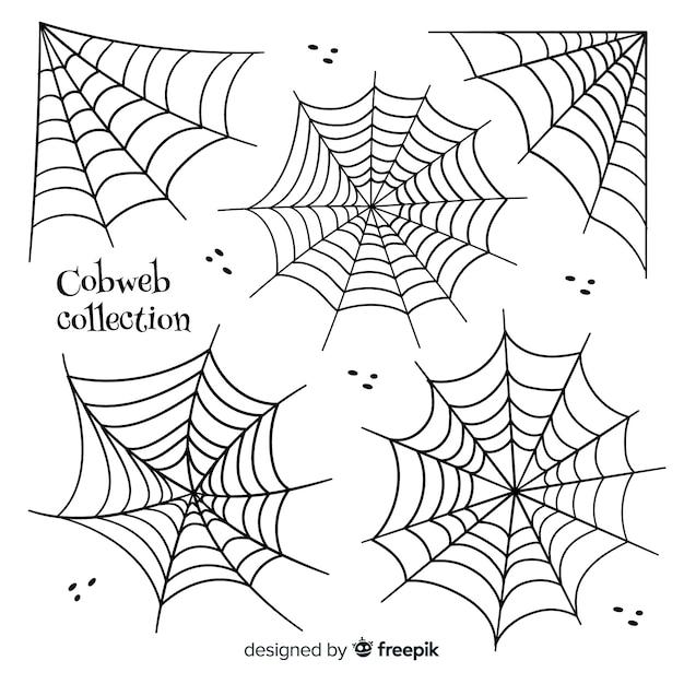 Verzameling van halloween spinnenwebben Gratis Vector